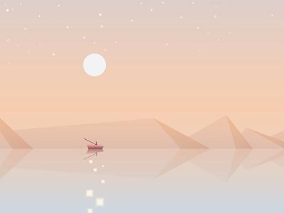 Fisherman Fishing contemporary minimalism boat illustration vector geometric soft colors reflection ocean fishing fisherman