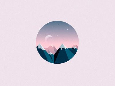 Mountain Peaks geometric night nature environment extreme hills altitude apex peaks mountain illustration vector