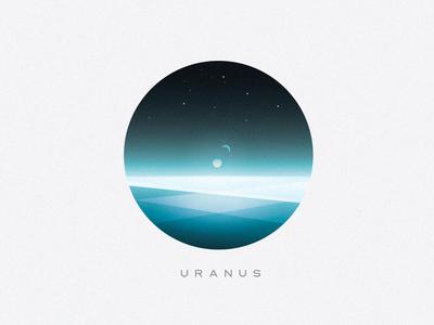 Planet Uranus science fiction sci fi universe moons minimalism illustration vector surface blue cold uranus planet