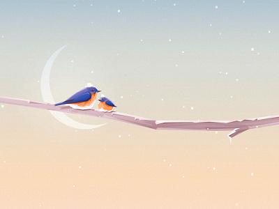 Bluebirds low poly moon snow landscape illustration vector christmas minimalism geometric snowflakes winter bluebirds