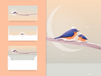 Bluebirds Envelope graphic design colors birds snowing minimalism illustration vector bluebirds letter mockup envelope