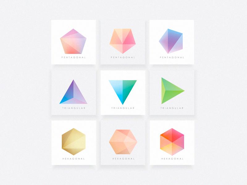 Polygonal Shapes logos geometric colors icons gradients vector shapes triangular triangles pentagonal hexagonal polygons