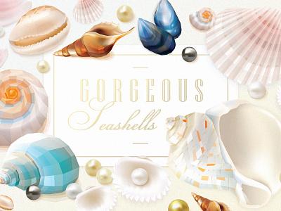 Gorgeous Seashells collection sea shells pearls gorgeous illustrations vectors summer shells collection seashells