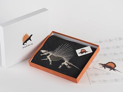 Permia- prehistoric apparel and art brand packaging cards animal illustration branding paleoart skeletal dinosaur art apparel clothing prehistoric
