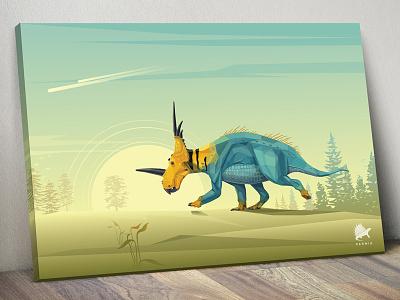 Permia Paleoscape Canvases paleoart paleoscape colors prehistoric landscape brand permia art artwork illustration dinosaur styracosaurus