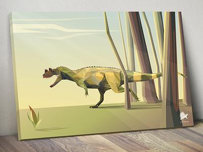 Permia- Ceratosaurus Paleoscape minimal polygonal geometric art illustration animal forest landscape paleoart dinosaur ceratosaurus permia