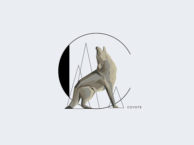 C  For Coyote  initial letter drop cap letter howling wolf letter c animal minimalism insignia monogram typography illustration vector coyote
