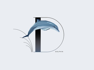 D For Dolphin drop cap letter initial letter letter d symbol jumping animal wildlife minimalism dolphin typography illustration vector