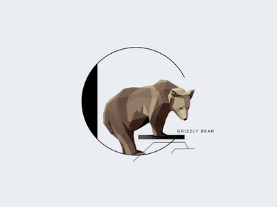 G For Grizzly drop cap letter initial letter letter g grizzly bear symbol geometric minimal illustration vector animal typograpy