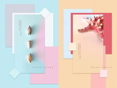 Mood Boards material design color inspiration mood boards summer starfish seashells minimal pastel colors branding design ui