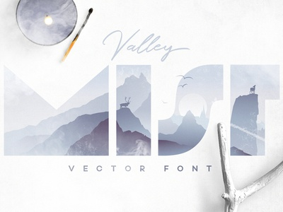 Valley Mist enchanted forest misty mountains valley mist double exposure vector font illustrated letters woodland landscape reindeer mist foggy ultraviolet
