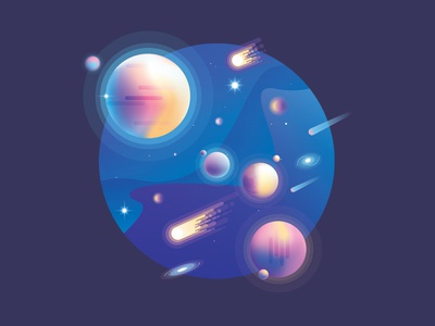 Vibrant Universe Creator ultra violet scene generator comets stars colors galaxy planets cosmos space illustration vector universe