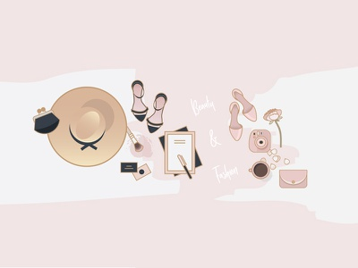 Beauty & Fashion Icon Pack dusty pink beauty blogger fashion designer flat lay illustrations flat lay icons beauty and fashion illustrations beauty icons fashion icons camera heels vectors