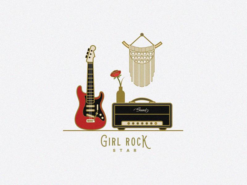 Girl Rock Star Icon Pack music instruments rock music line icons girl rock star red guitar electric guitar band vector illustration rose amplifier boho