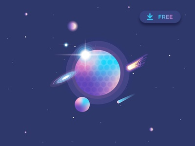 Vibrant Universe Creator Freebie colorful abstract minimalism geometric stars comets planets galaxy illustration freebie vector vibrant colors space universe