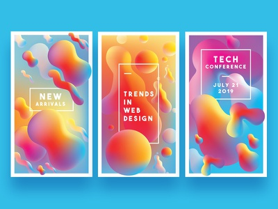 Vibrant Instagram Stories Templates banner ads app instagram stories instagram templates liquid gradients bold colors gradient branding design ui abstract colorful colors illustration vector