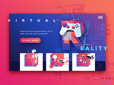 Vr Icons and Typography Collection vibrant colors futuristic ui illustraion vector type font vr typography vr icons trending 2019 game controller gradient living coral gaming augmentedreality virtual reality vr app design web deisgn ui card