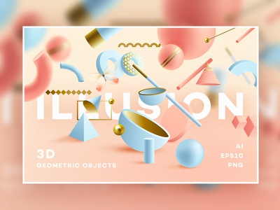 Illusion -3D Geometric Objects web design trending design abstract compositions 3d rendering living coral branding ui abstract colorful geometric illustration illusion 3d art 3d vector