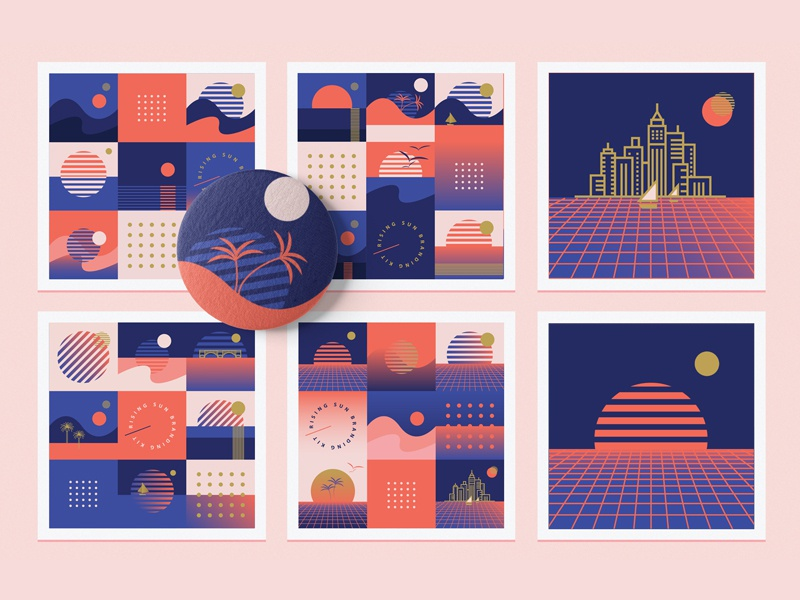 Rising Sun Branding Collection old school gradient city skyline summer branding geometric patterns seamless patterns red sunrise rising sun synthwave retro living coral abstract geometric illustration vector
