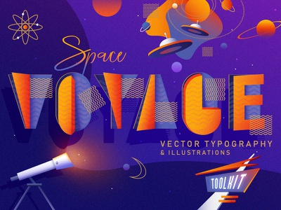 Space Voyage  Vector Typography And Illustrations universe ufo retro font vibrant colors retrowave retro futurism atomic age mid century modern outer space colorful illustration vector