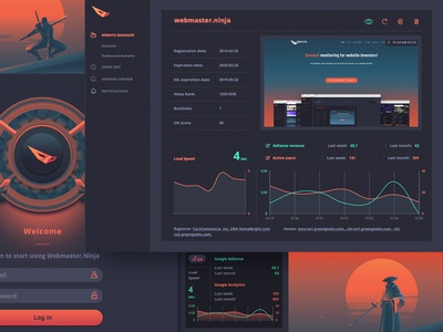 Webmaster.Ninja dashboard monitoring dashboard web design product design graph interface uxdesign ux dark theme webmaster ninja dashboard ui dashboard design dark dashboard