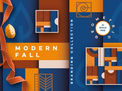 Modern Fall Branding Collection seamless Patterns branding colors colorful ui logo illustrations vectors de stijl minimalism abstract seamless pattern geometic autumn fall