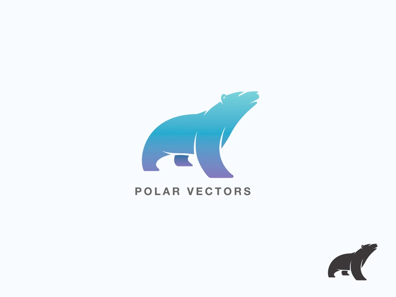 Polar Vectors Logo Mark logo mark polar vectors polar bear gradient animal branding logo minimalism illustration vector