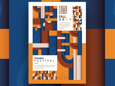 Modern Fall Templates printable modernism de stijl oktoberfest autumn pattern fall pattern editable poster design template illustration branding design geometric abstract vector