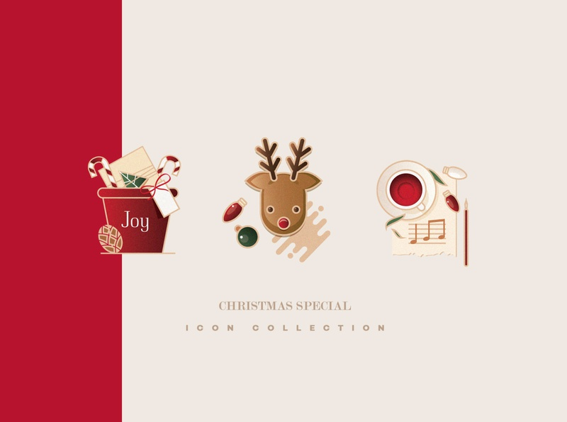 Christmas special icon collection xmas icon set graphic resources green red christmas carol gingerbread deer christmas gift illustration vector icons christmas icons