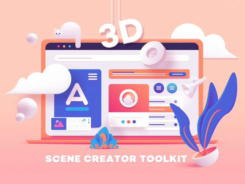 3D Toolkit UI Elements Scene Creator colorful geometric website builder web illustration ui elements dashboard ui graphic resources conceptual scene generator scene creator ui kit ui gradients 3d render vector art vector illustration 3d illustration 3d
