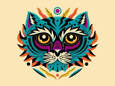 Tiger Face Illustration stripes eyes symmetry curves design colourful animal illustration face tiger