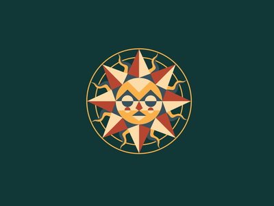 Sun star sun curves lines circles face triangles design colorful illustration