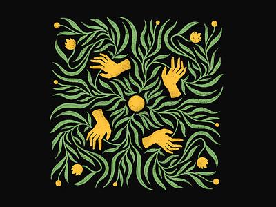 Random Illustration leaves texture grain sun pattern floral hands curves design illustration