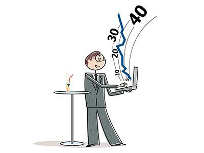 Successful investor design illustration comic art line art