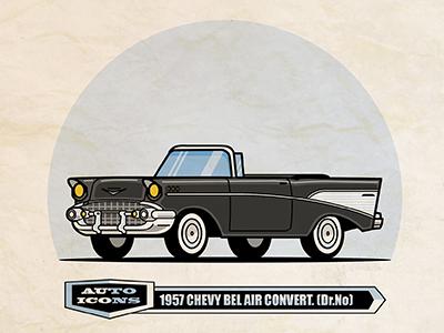 57 Chevy Convertible classic car design illustration