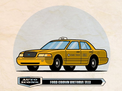Crown Vic Taxi line art vector illustration