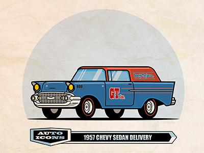 1957 Chevy Sedan Delivery classic car flat  design comic art vector illustration