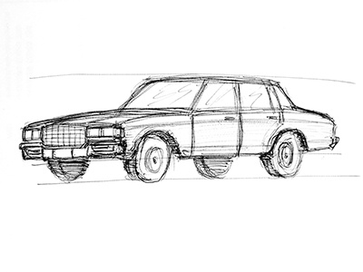 Scribble 80-90 Chevy Caprice s classic car sketch scribble pencil illustration