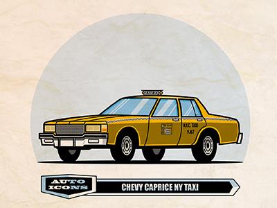 80-90 Chevy Caprice Taxi comic art classic car vector illustration