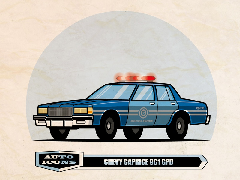 80-90 ChevyCaprice 9C1 GPD comic art classic car vector illustration