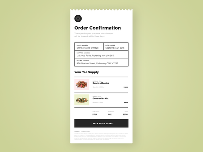 Tea Store Payment Receipt 🌿 dailyui017 017 website daily 100 challenge dailyuichallenge web app software ecommerce daily challange dailyui ux design ui