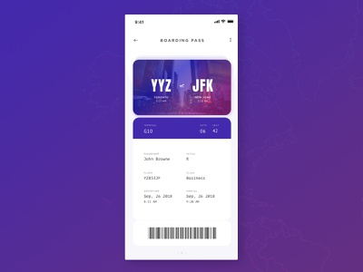 Boarding Pass UI airport travel app boardingpass dailyui24 024 icon typography daily 100 challenge software app dailyuichallenge daily challange dailyui ux design ui