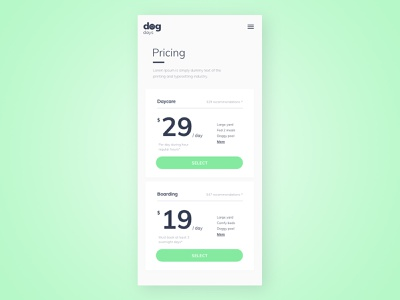 Pricing Cards dog daycare mobile design pricing card pricing plans website web daily 100 challenge dailyuichallenge daily challange dailyui ux design ui