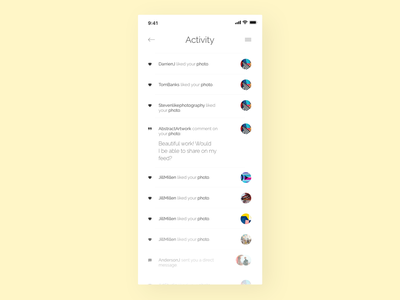 Activity Feed - Challenge 47 💛 social app activity stream activity feed dailyui047 047 application software daily 100 challenge app dailyuichallenge daily challange dailyui ux design ui