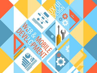 Corporate facebook cover cover it web mibile development vector