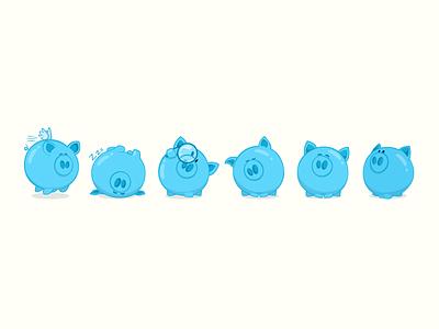 Piggy design concept for ios app piggies blue character design advertising ios mascot corporate illustration cartoon