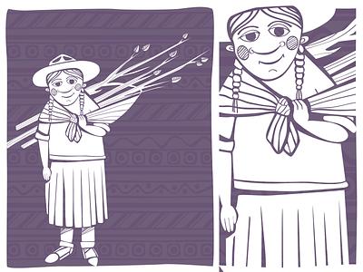 Peruvian Woman woman ethno print vector peru peruvian hat monochrome
