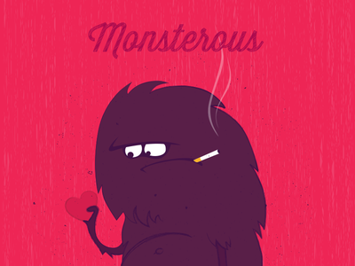 Monsterous vector monster valentine heart love happy holiday card illustration pink smoke fun