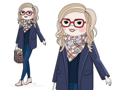 Fashion Girl vector portrait fashion girl illustration cartoon