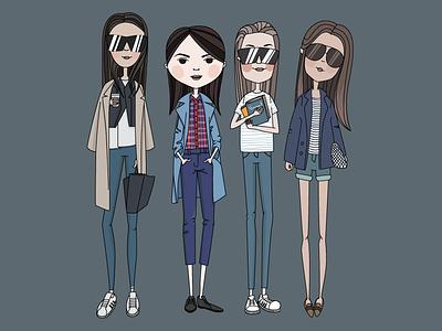 Girls :) illustration vector girls fashion glasses stripes
